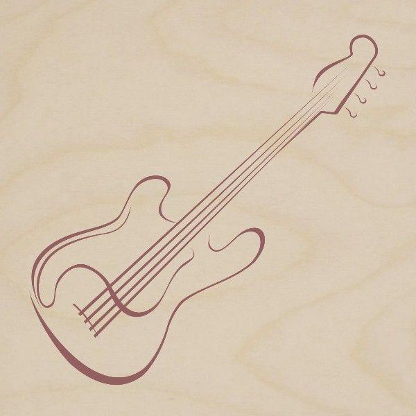 obrazy drewniane gitara basowa