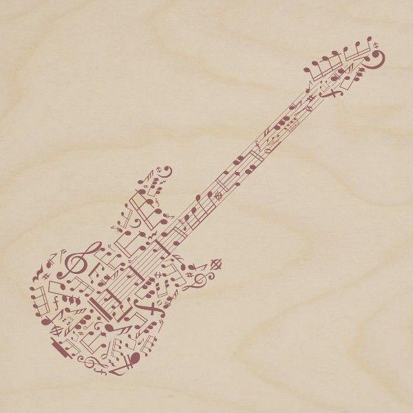 obraz drewniany gitara elektryczna nutki